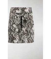 the attico snakeskin print mini skirt