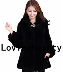 long black rex rabbit fur coat for women with hood fur outwear plus size 4xl 3xl