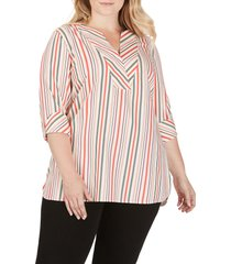 plus size women's foxcroft vaughn desert stripe stretch cotton blouse, size 18w - beige