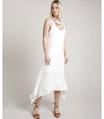 vestido feminino midi com lurex assimétrico alça média off white