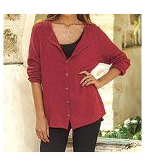 pima cotton cardigan, 'everyday in crimson' (peru)