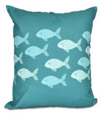 fish line 16 inch teal and aqua decorative coastal throw pillow