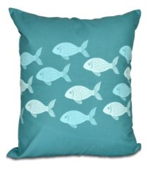 fish line 16 inch teal and aqua decorative coastal throw pillow