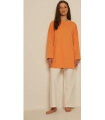 na-kd basic ekologisk oversize t-shirt med sidoslits - orange