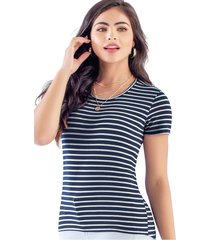 camiseta adulto femenino estampado rayas azul marketing  personal