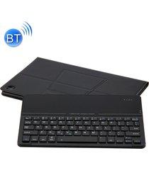 desmontable teclado bluetooth ultrafino de vidrio templado espejo magnético de cuero caso para huawei mediapad m5 10,8 pulgadas, con el titular (negro)