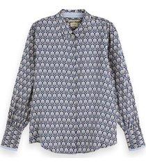 maison scotch regular fit clean viscose shirt blauw