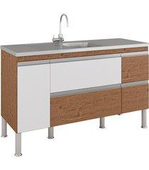 gabinete para cozinha prisma 86x144cm amêndoa e branco