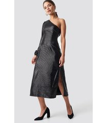 na-kd party one shoulder balloon sleeve midi dress - black