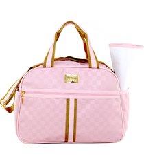 bolsa baby nut maternidade amêndoa xadrez rosa