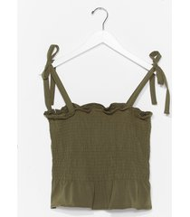 womens shirred does tie cami top - khaki
