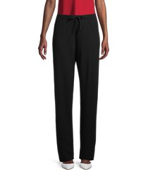 the row women's pepita fleece pants - black - size s