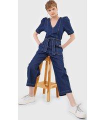 macacão jeans cantão pantacourt mangas bufantes azul