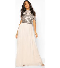 bridesmaid high neck hand embellished maxi dress, mink