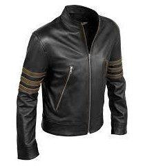 custom handmade x-men volverine leather jacket, xmen movie black real leather ja