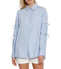 walter baker women's ashlee cotton long-sleeve top - light blue - size s