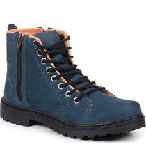 bota coturno masculina couro zíper cano médio leve conforto azul