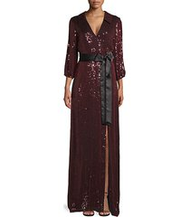 bayley sequin collared wrap gown