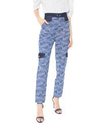 calça jeans my favorite thing(s) cargo camuflada azul