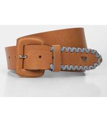 cinturón unifaz de cuero para mujer punta tejida