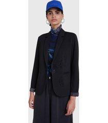 blazer desigual negro - calce ajustado