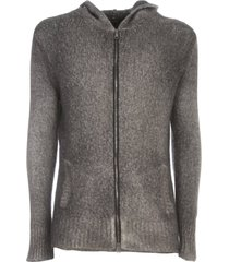 avant toi hooded brushed bio cotton blend cardigan with zip