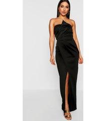 bandeau wrap detail split maxi bridesmaid dress, black
