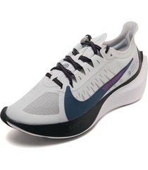 tenis running gris-negro-azul-violeta nike zoom gravity