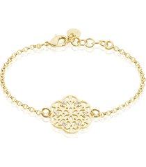 bracciale in ottone dorato e strass con simbolo fiocco di neve per donna