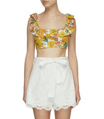 poppy' tie back floral print ruffle neck crop top