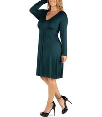 24seven comfort apparel womens v-neck long sleeve professional plus size dress