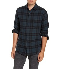 rails lennox regular fit plaid button-up shirt, size xx-large in emerald/onyx at nordstrom