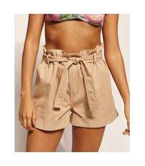 short de sarja feminino emi beachwear clochard cintura alta com faixa para amarrar kaki