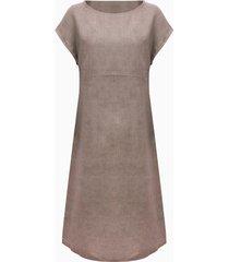 linnen jurk, taupe 40