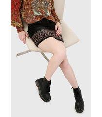 falda negro-multicolor desigual
