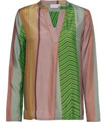blouse w. long sleeves in stroke pr blouse lange mouwen multi/patroon coster copenhagen