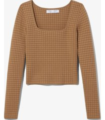 proenza schouler white label quilted knit square neck top 00971/neutrals xs