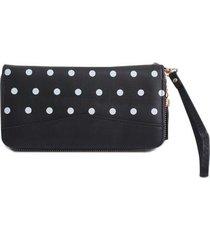 billetera mujer perlas color negro, talla uni