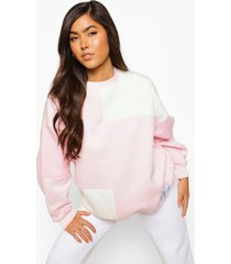official roze colour block sweater met label, pink