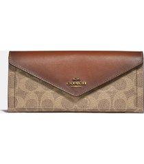 coach women's colorblock signature soft wallet - tan rust