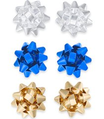 holiday lane multi-tone 3-pc. set bow stud earrings, created for macy's