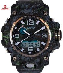 reloj unisex joefox plastico camuflaje hojas 1523b - verde