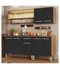 cozinha completa madesa emilly dance com balcão e armário vidro reflex - rustic/preto rustic/preto
