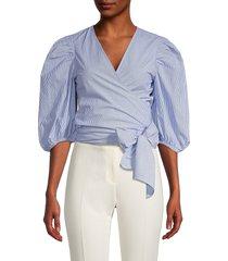 ganni women's pinstriped wrap blouse - blue - size 40 (8)