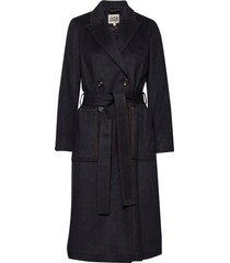 lilian coat wollen jas lange jas zwart twist & tango
