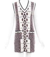 chanel intarsia knit sweater dress