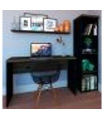 conjunto de mesa com estante e prateleira de escritório corp preto e ameixa negra