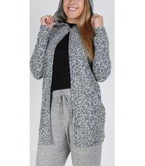 women's cozy single button hoodie cardigan