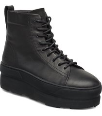 767g black leather shoes boots ankle boots ankle boot - flat svart gram