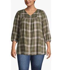 lane bryant women's plaid popover blouse 14 olive plaid